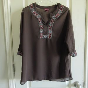 Rock and Roll Cowgirl Brown Sheer Tunic Top